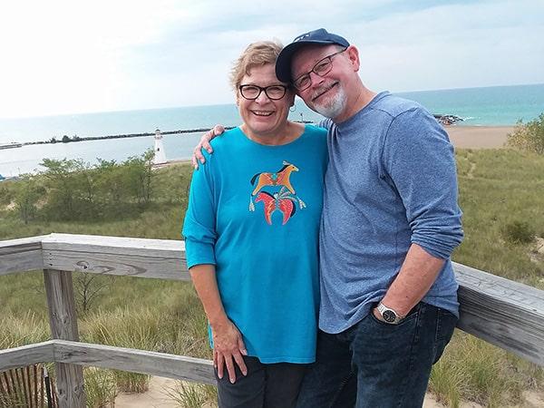 Diane and William Kent Krueger at Lake Michigan