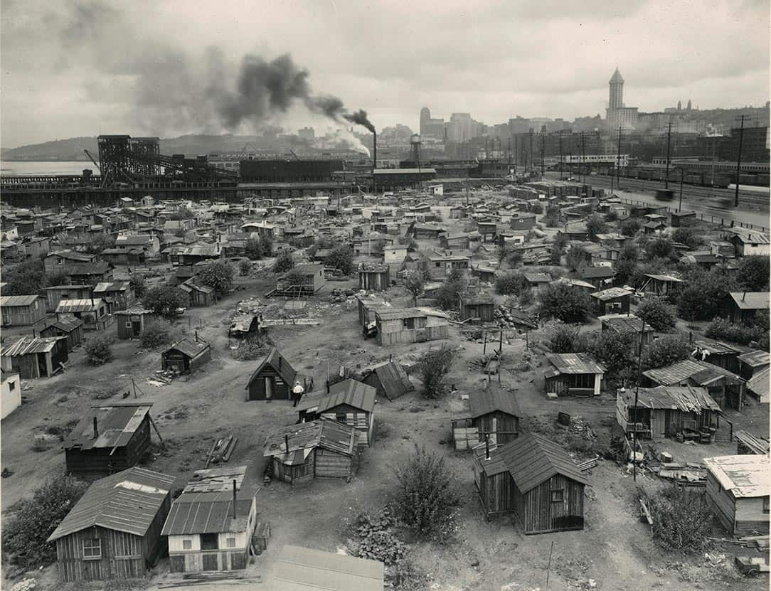 A large Depression Era Hooverville