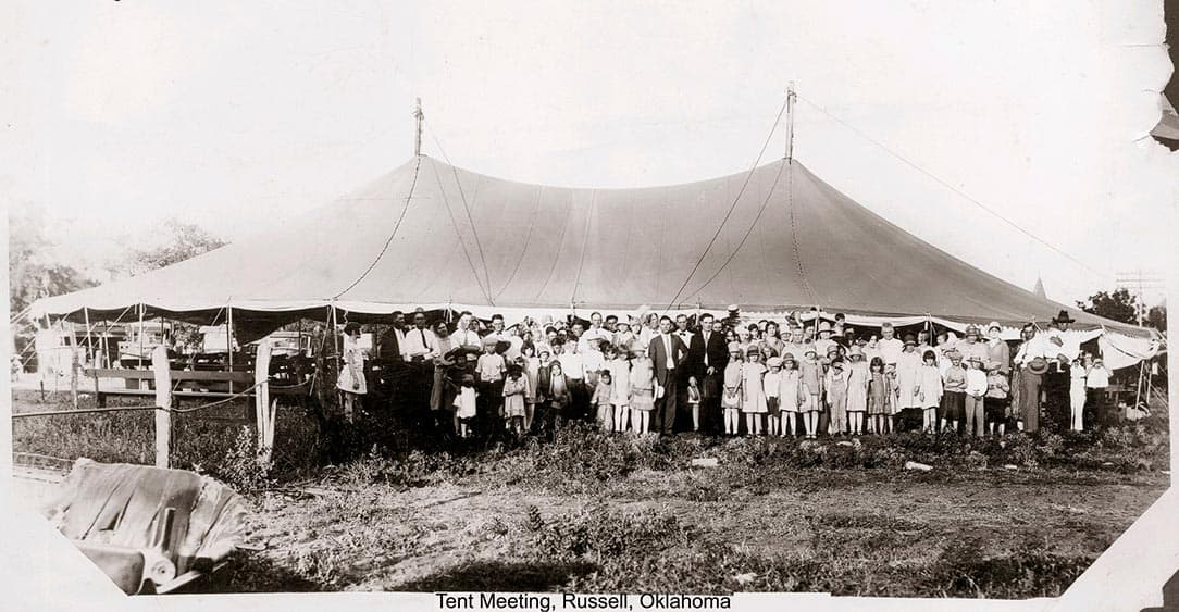 1920s tent revival meeting